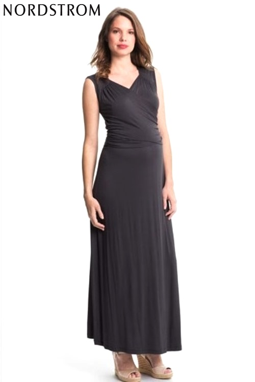 Faux Wrap Maxi Maternity Dress- Expecting Models for Nordstrom