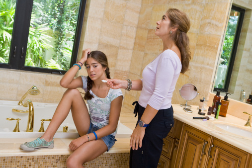 Mothers teaching daughters amateur